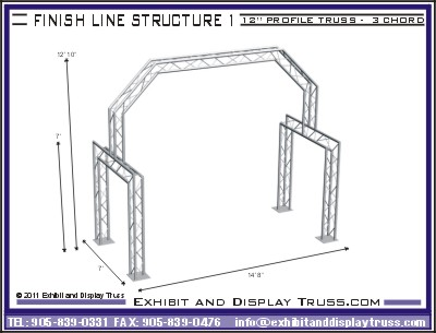 Portable aluminum truss finish line systems