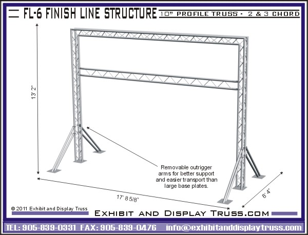 Modular Finish Line Systems Made With Aluminum Truss For