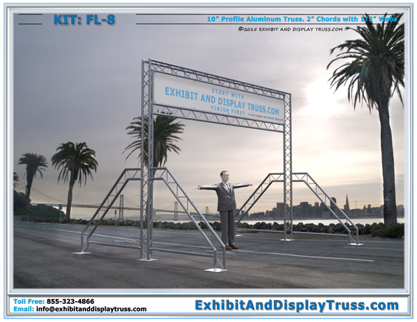FL-8 Portable aluminum truss start finish line system for marathon running race and cycle racing events