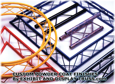 custom powder coat truss finsihes by exhibit and display truss.com