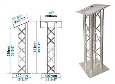 lectern or podium for presentation made with light weight aluminum truss