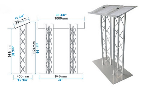 extra large wide top aluminum truss lectern for presentaions