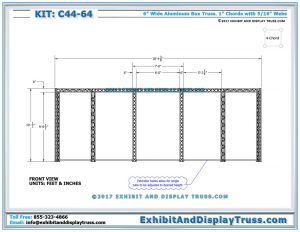 Front View Dimensions for Step and Repeat Sign and Banner Wall for Trade Shows