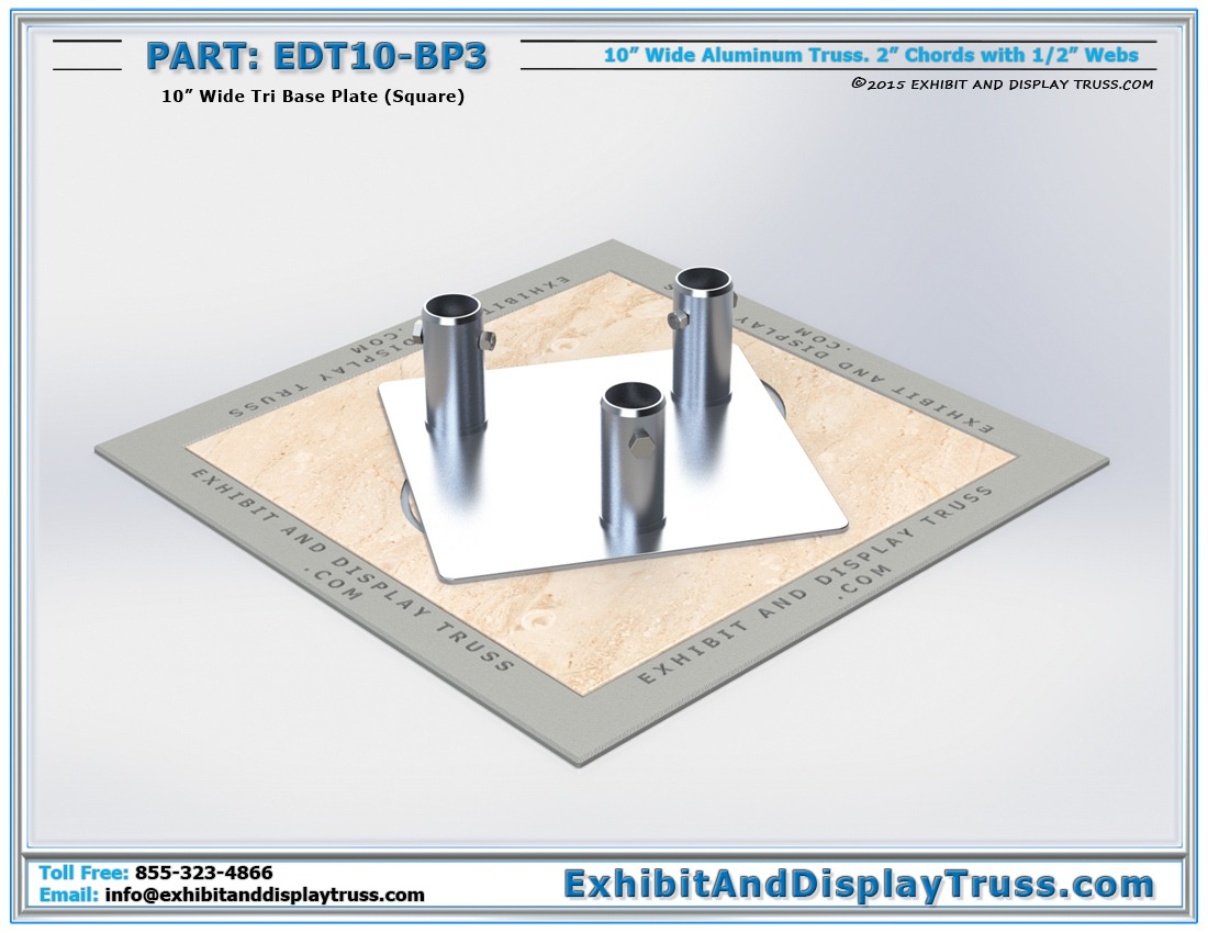 EDT10-BP3 / 10″ Wide Tri Base Plate