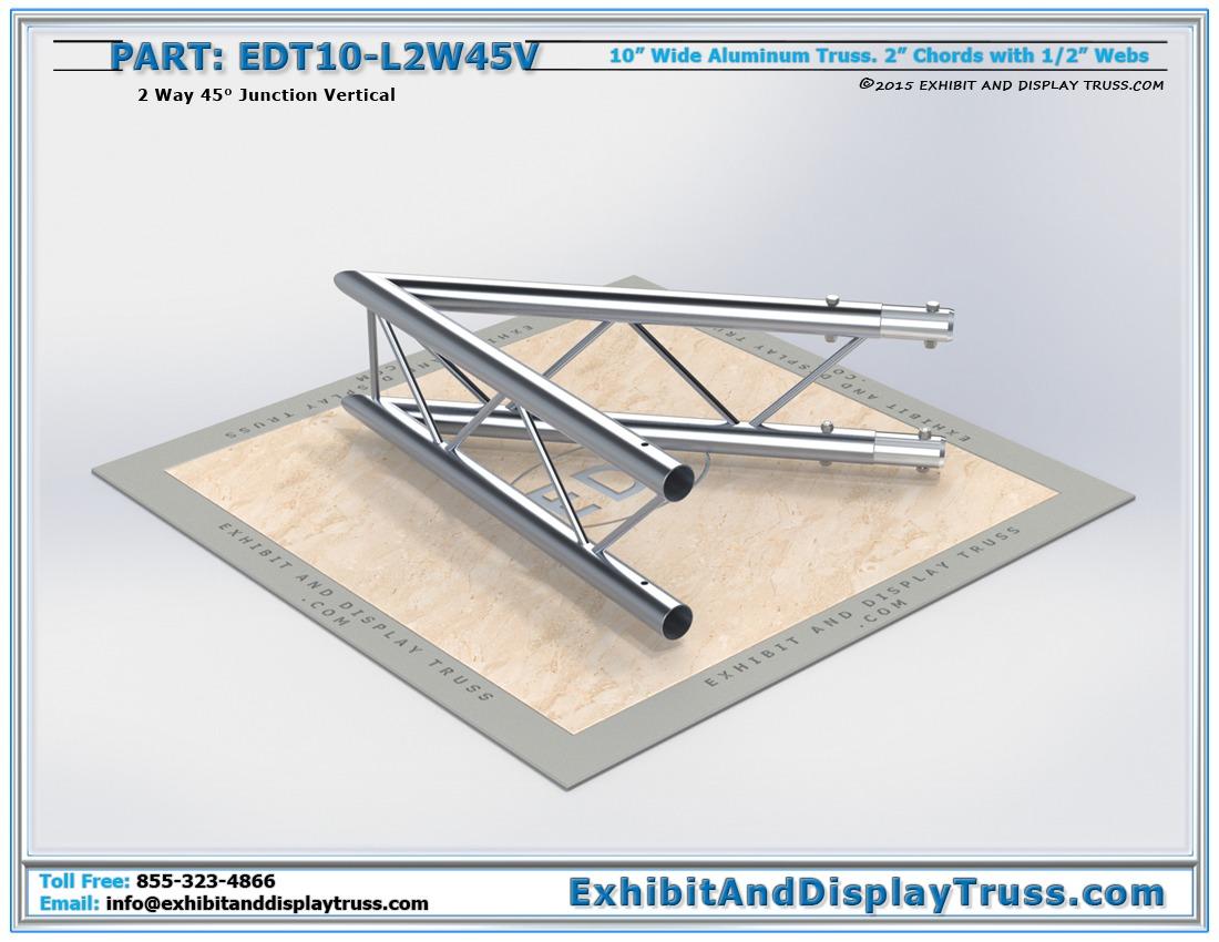 EDT10-L2W45V / 10″ Wide 2 Way 45° Junction Vertical