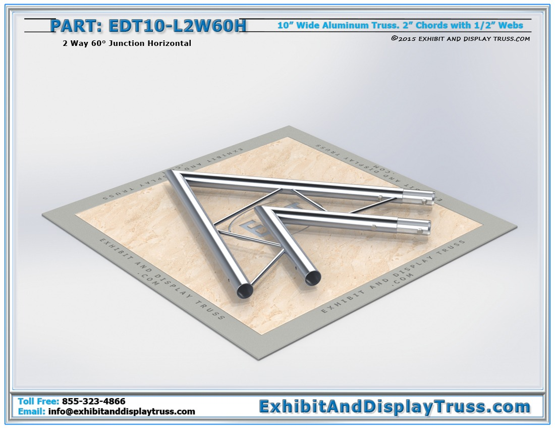 EDT10-L2W60H / 10″ Wide 2 Way 60° Junction Horizontal
