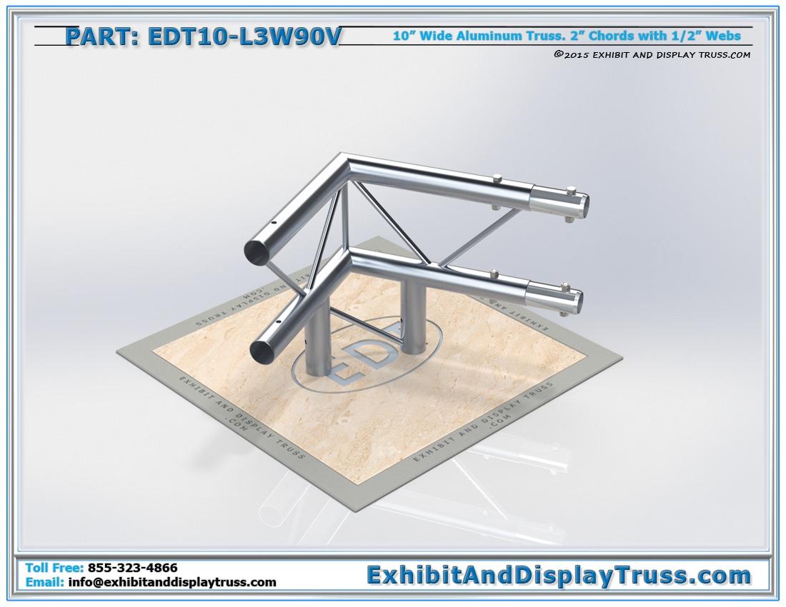 EDT10-L3W90V / 10″ Wide 3 Way 90° Junction Vertical