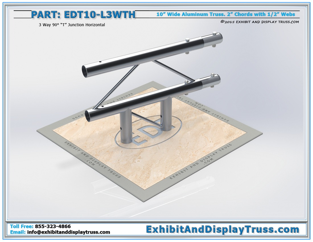 """EDT10-L3WTH / 10″ Wide 3 Way 90° """"T"""" Junction Horizontal"""