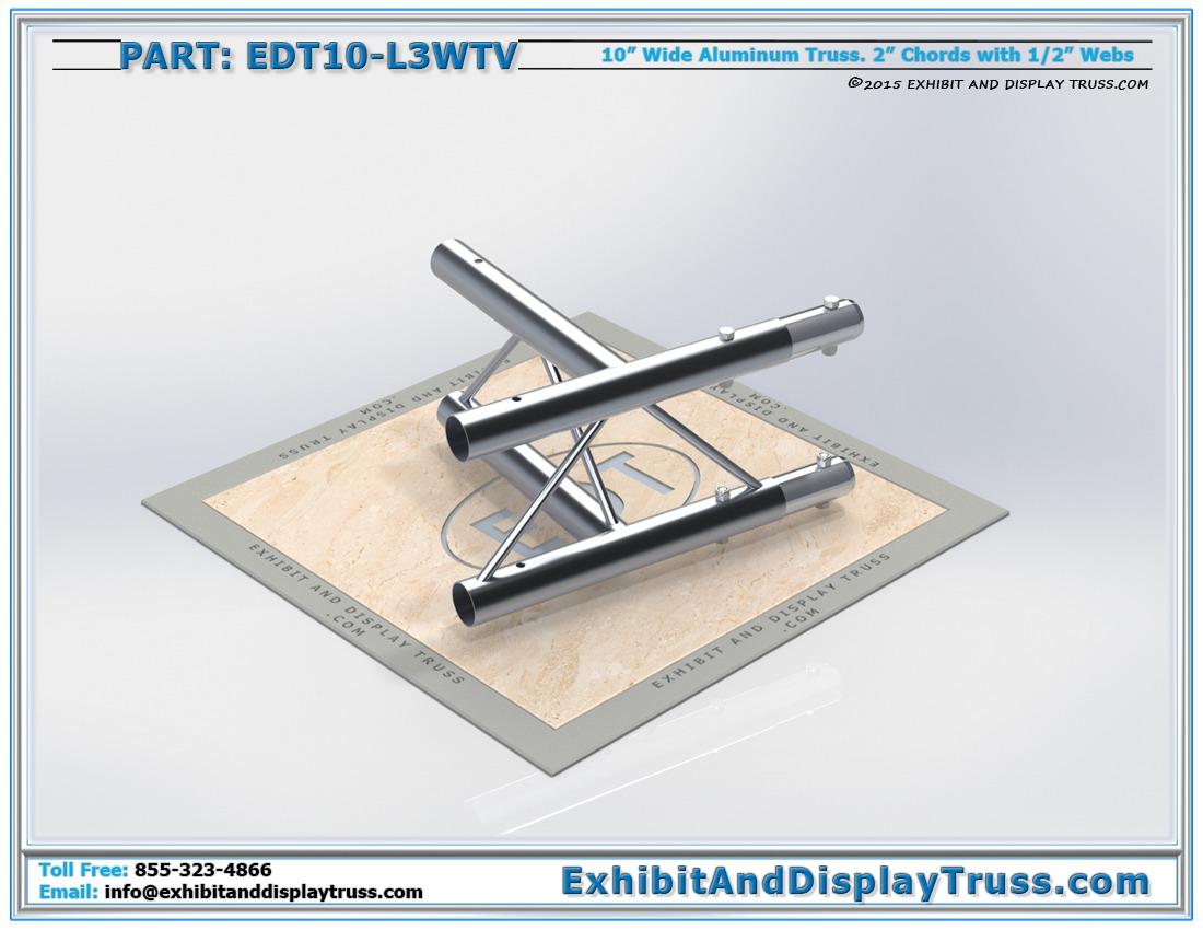 "EDT10-L3WTV / 10″ Wide 3 Way 90° ""T"" Junction Vertical"