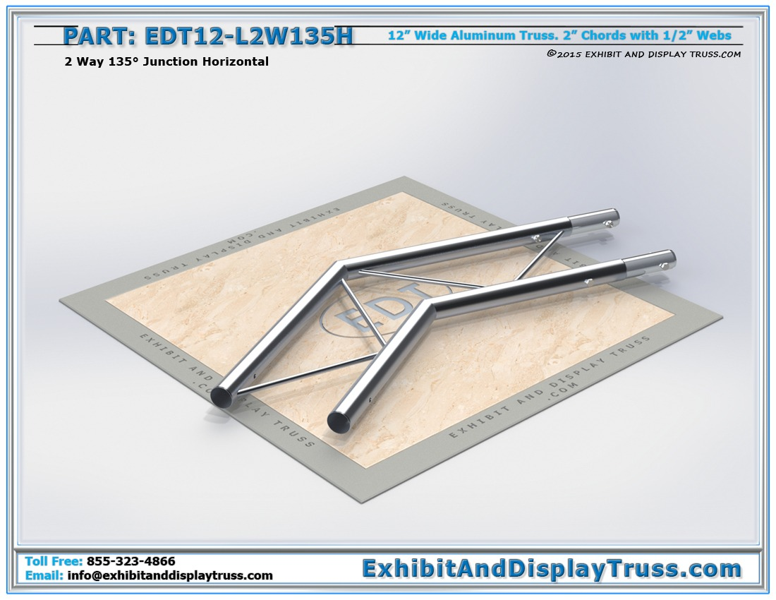 EDT12-L2W135H / 12″ Wide 2 Way 135° Junction Horizontal