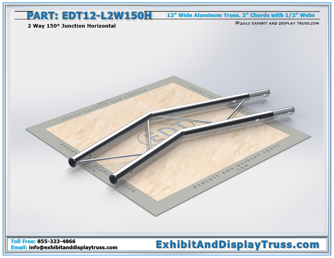 EDT12-L2W150H / 12″ Wide 2 Way 150° Junction Horizontal