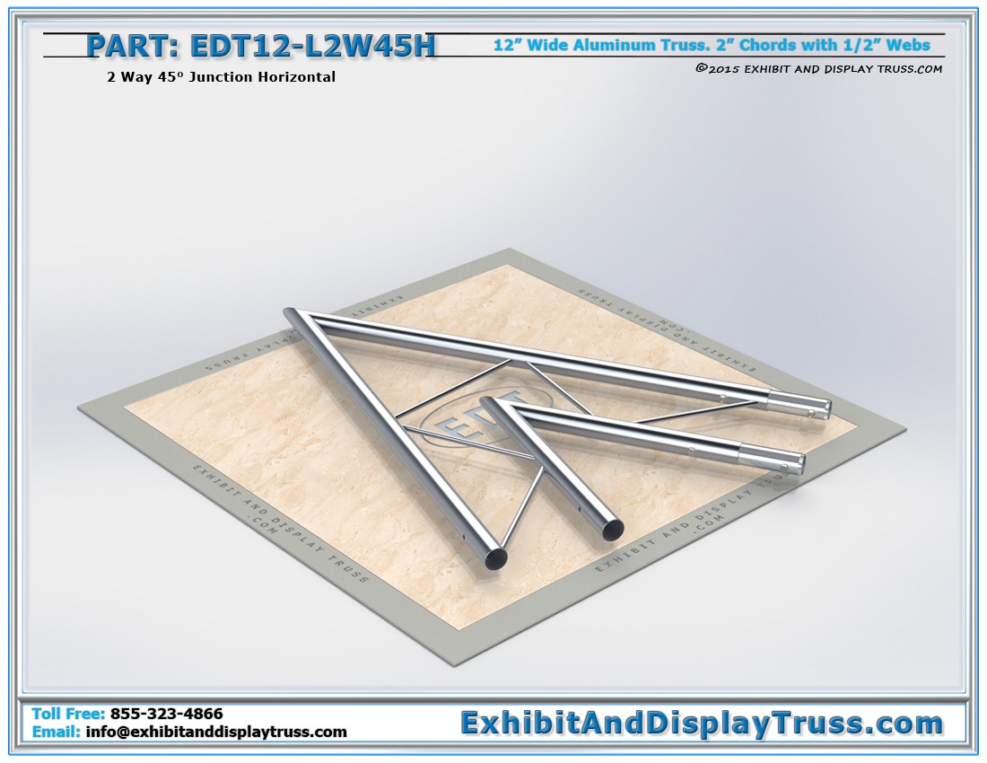 EDT12-L2W45H / 12″ Wide 2 Way 45° Junction Horizontal