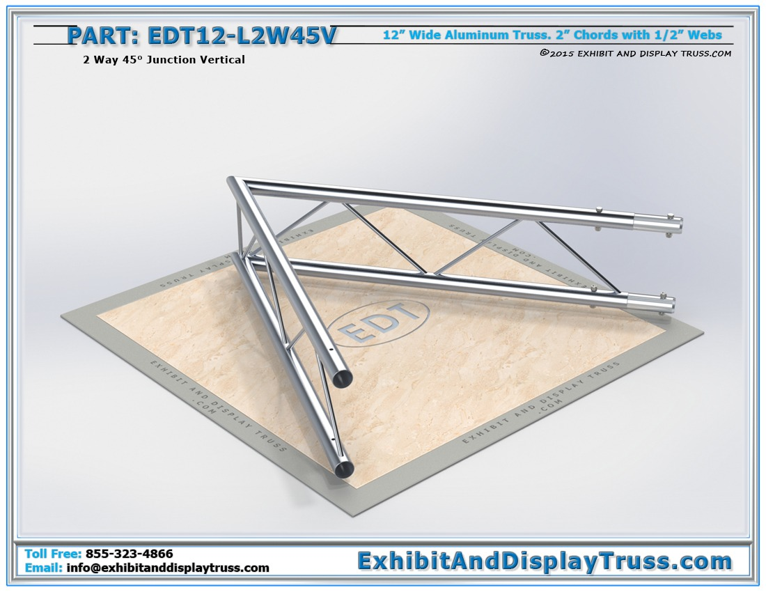EDT12-L2W45V / 12″ Wide 2 Way 45° Junction Vertical