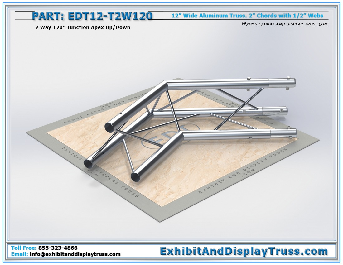 EDT12-T2W120 / 12″ Wide 2 Way 120° Junction Apex Up or Down