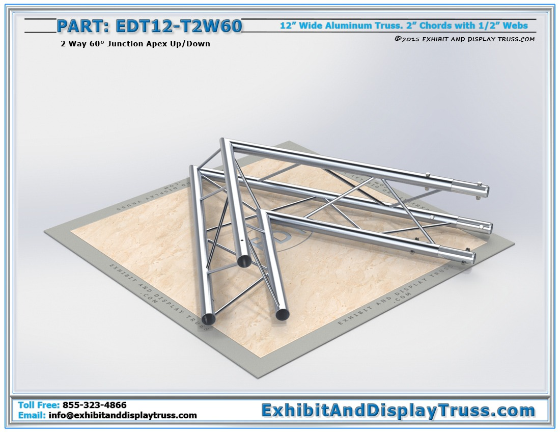 EDT12-T2W60 / 12″ Wide 2 Way 60° Junction Apex Up or Down