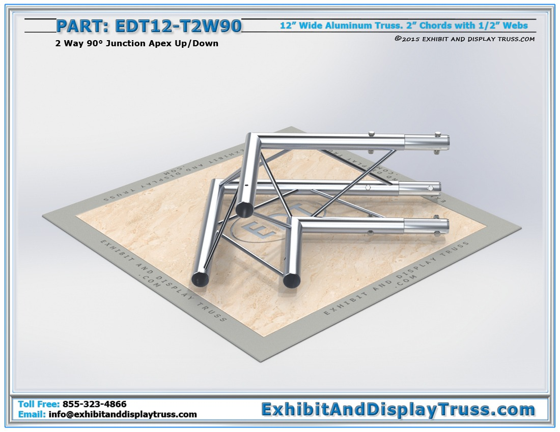 EDT12-T2W90 / 12″ Wide 2 Way 90° Junction Apex Up or Down