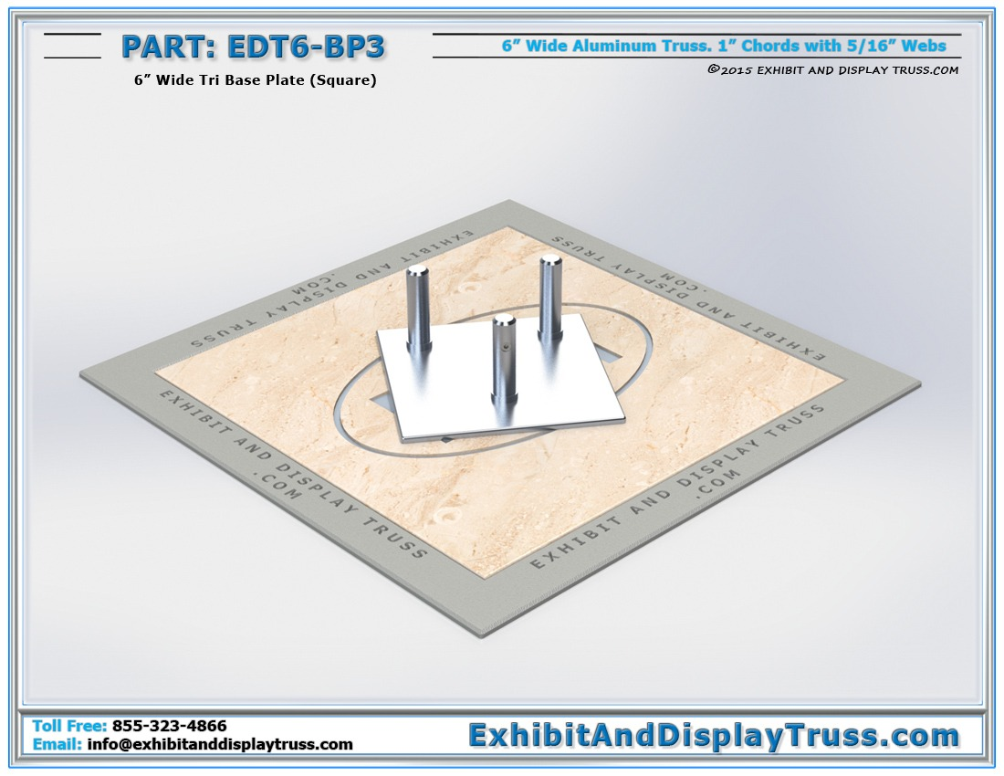 EDT6-BP3 / 6″ Wide Tri Base Plate