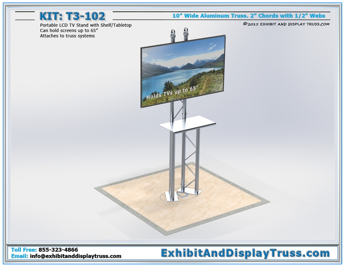 T3-102 Portable LCD TV Monitor Stand / Portable TV Stand Laptop Station